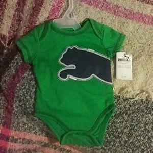 Green 0/3 mth puma onesie